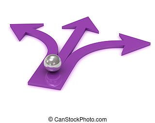 Silver ball at the intersection of three purple arrows on...