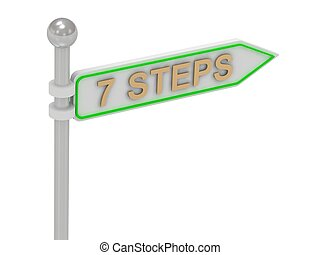 signs with gold quot;7 STEPSquot; - 3d rendering of signs...