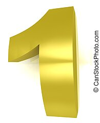 Golden number 1 on a white isolated background
