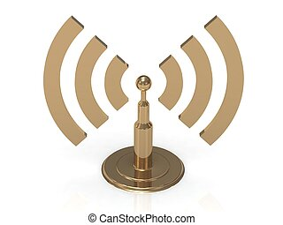Gold antenna with radio waves on white background