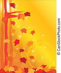 Falling Maple Leaves in Forest Illustration