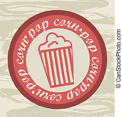 pop corn icon - pop corn seal over grunge background vector...