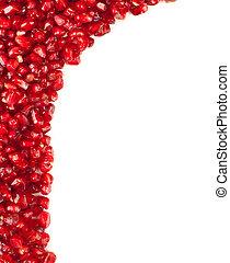 Pomegranate frame on white background.
