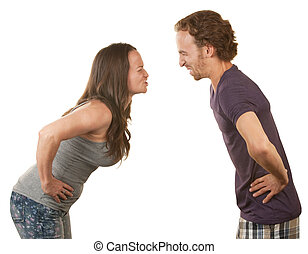 Frustrated Couple Arguing - Frustrated spouses closed eyes...
