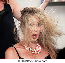 Blow Dryer Messing Up Hair - Shocked woman with messy hair...