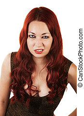 Grumpy Woman Sneering - Grumpy Hispanic Woman with red hair...