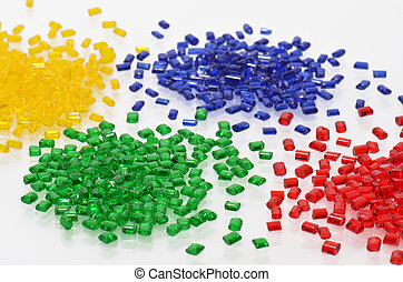 transparent polymer resins - yellow, blue, green and red...