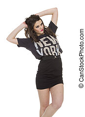 pretty brunette woman wearing casual New York tshirt on...