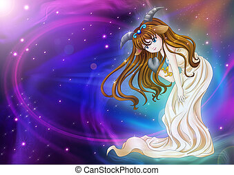 Capricorn - Manga style illustration of zodiac sign on...