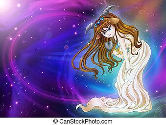 Capricorn - Manga style illustration of zodiac sign on...