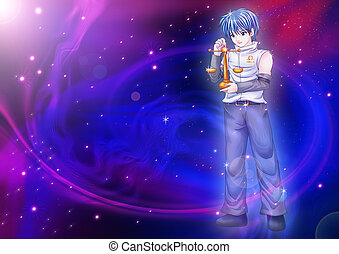 Libra - Manga style illustration of zodiac sign on cosmic...