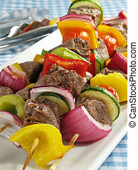 Steak Kebabs - Juicy steak kebabs with bell peppers, onions,...