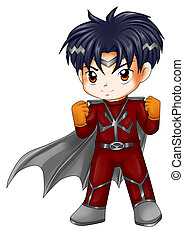 Chibi Superhero - Chibi style illustration of a superhero