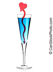Blue champagne alcohol cocktail with red heart decoration...