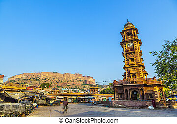 Jodhpur clocktower with fort in early morning light