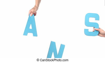 Female hands holding HANDS - Cardboard cutout with the word...