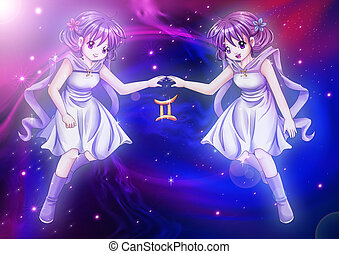 Gemini - Manga style illustration of zodiac sign on cosmic...