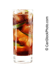 Cuba libre alcohol cocktail isolated on white Ingredients: 1...