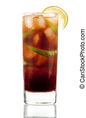 Cuba libre alcohol cocktail isolated on white. Ingredients:...