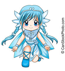 Chibi Super-heroine - Chibi style illustration of a...