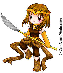 Chibi Warrior - Chibi style illustration of a warrior girl