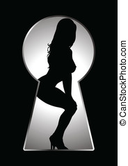 Seducing - Silhouette of a woman figure seen through a key...