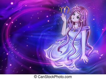 Virgo - Manga style illustration of zodiac sign on cosmic...