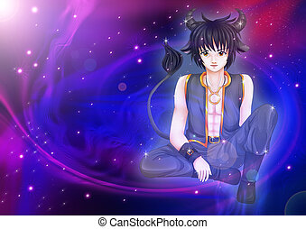 Taurus - Manga style illustration of zodiac sign on cosmic...