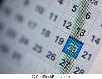 Calendar, computer screen Close up