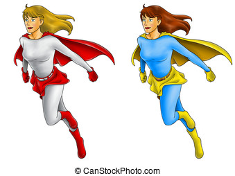 Superheroine - Illustration of a super-heroine in flying...