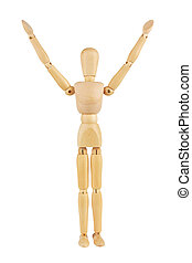 wooden man isolated on white background