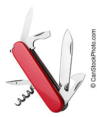 Red Swiss Army Knife multi-tool, isolated on white...