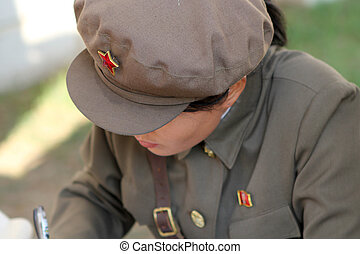 north korean girl at work, North Korea, Pyongyang