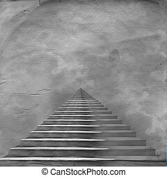 The stairway to heaven leading to God on the old paper