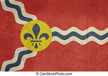 Grunge St Louis flag - Gruinge city flag of St Louis city in...
