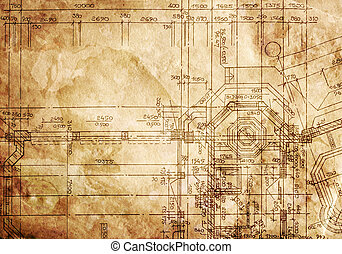 vintage architectural drawing, on grunge paper with some...