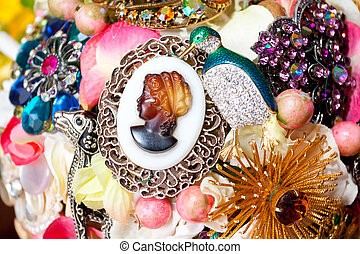 Charm Bouquet Detail - Detail image of a bride's charm...