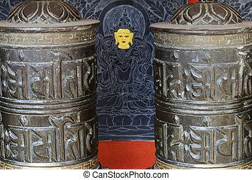 detail of prayer wheels in nepal