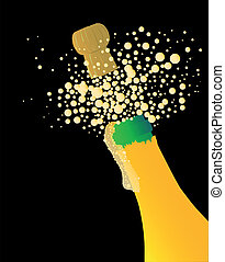 Bubbly - Champagne bottle being opened with froth and...