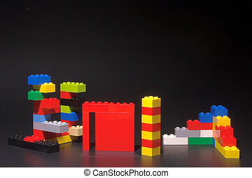 Plastic Building Blocks - A set of childrens plastic...