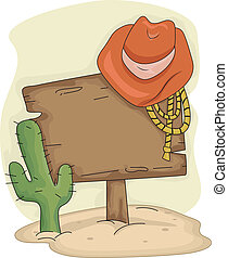 Cowboy Hat Blank Sign - Illustration of a Wooden Blank Sign...