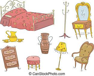 Vintage Furniture - Illustration of an Assortment of Vintage...