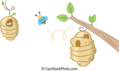 Bee Hive Background - Background Illustration Featuring a...