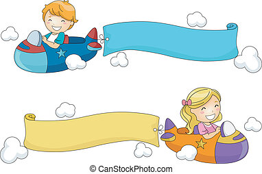 Airplane Banner - Illustration of Kids Riding Toy Airplanes...