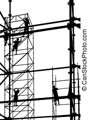 Workers High Up on Scaffolding - Construction workers in...