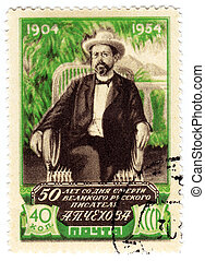 USSR - CIRCA 1954 : Stamp printed in the USSR shows Anton...