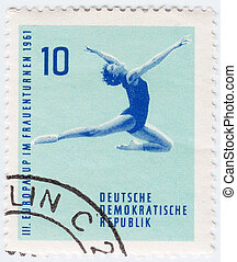 GDR - CIRCA 1961 : stamp printed in GDR ex East Germany...