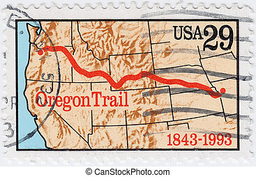 USA - CIRCA 1993 : stamp printed in USA shows Oregon trail,...