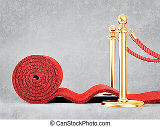 event carpet - red event carpet isolated on a grey...