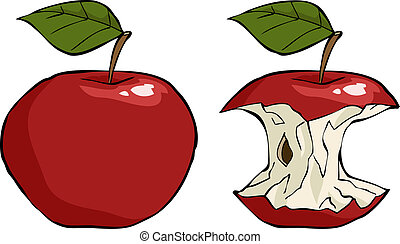 Apple core - Apple and apple core cartoon vector...